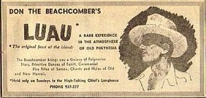 Newspaper ad for Don the Beachcomber in Waikiki