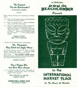 Brochure from Don the Beachcomber in Waikiki