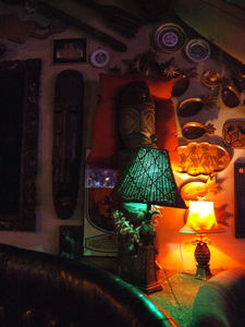 Wall decor at Burt's Tiki Lounge in Albuquerque