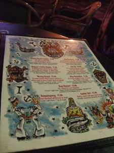 Menu at Burt's Tiki Lounge in Albuquerque