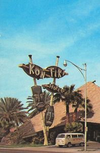 Close up of the iconic sign from a postcard from Kon Tiki Hotel in Phoenix