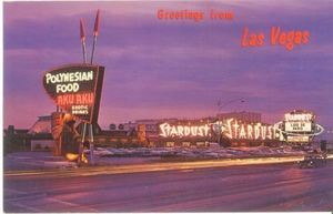 Postcard showing a revised sign for Aku Aku in Las Vegas
