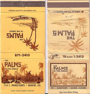 Two matchbook styles from The Palms in Anaheim