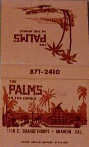 Matchbook from the Palms in Anaheim