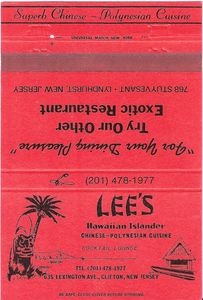 Matchbook from Lee's Hawaiian Islander in Clifton