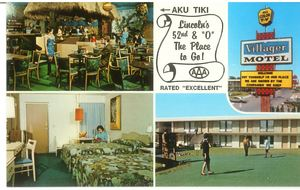 Postcard for the Village Motel featuring Aku Tiki Lounge in Lincoln