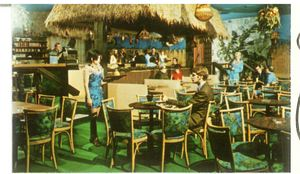 Detail of a postcard featuring Aku Tiki Lounge in Lincoln