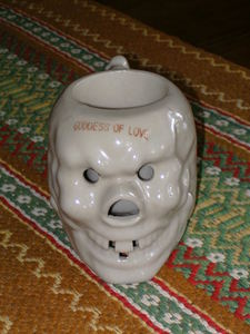 """Goddess Of Love"" skull mug from Hawaii Kai in New York"