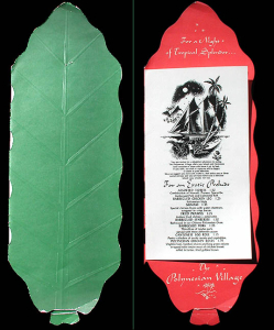 Leaf-shaped menu from Polynesian Village