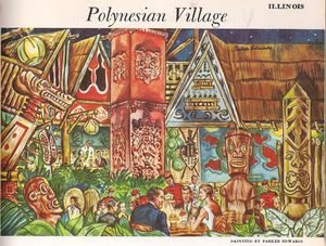 From a Ford Times magazine, a rendering of the restaurant interior of Polynesian Village in Chicago