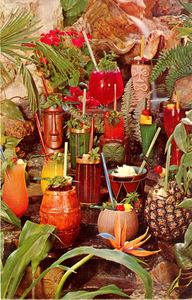 Postcard of tropical drinks from Kahiki Supper Club in Columbus