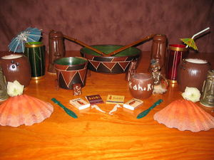 Collection of items, including some Hoffman pottery pieces, from Kahiki Supper Club in Columbus