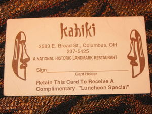 Card for a free lunch at Kahiki Supper Club in Columbus