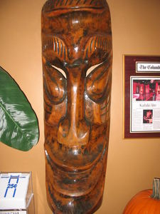 Tiki mask originally from Kahiki Supper Club in Columbus, on the wall at Tropical Bistro in Hilliard