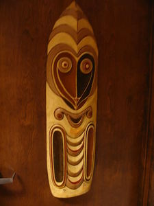 Carving from Kahiki Supper Club in Columbus, now at Kahiki Frozen Foods