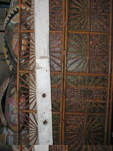 Divider screens, plus a large tiki that was above the entrance, at a sale of items from Kahiki Supper Club in Columbus
