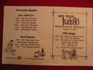 Schedule for Bon Voyage Kahiki, the last night at Kahiki Supper Club in Columbus
