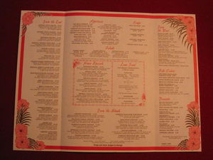 Inside of a souvenir mailer menu from Kahiki Supper Club in Columbus