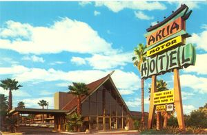 Postcard with the original sign for Akua Motor Inn in Anaheim