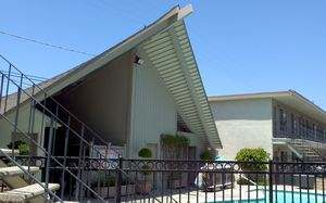 A-frame in the pool area at Akua Motor Inn in Anaheim