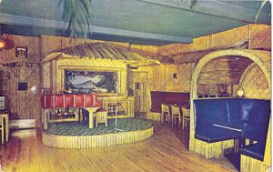 Postcard showing the stage at the Bamboo Cabana Room in Santa Monica