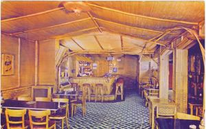 Postcard showing the lounge at the Bamboo Room in Santa Monica