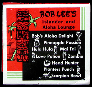 Back of a matchbook from Bob Lee's Islander