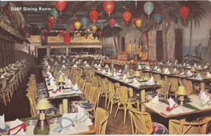 Postcard showing the Surf dining room at Honolulu Harry's Waikiki in Chicago