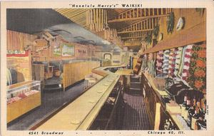 Postcard showing the bar area at Honolulu Harry's Waikiki in Chicago