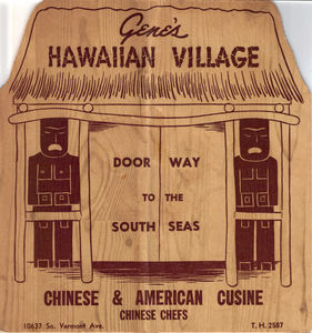 Menu from Gene's Hawaiian Village in Los Angeles