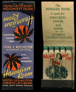 Matchbooks from the Hawaiian Room in New York