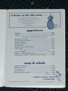 Menu from Aku-Tiki Room in Kewanee