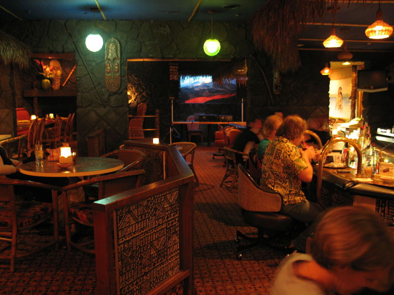 Main Bar Area With Sunken To Right At Aku Tiki Room In Kewanee Il