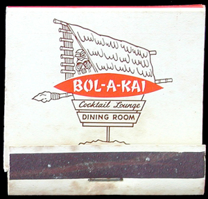 Front of a matchbook from Bol-A-Kai