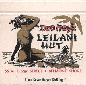 Matchbook from Leilani Hut in Long Beach