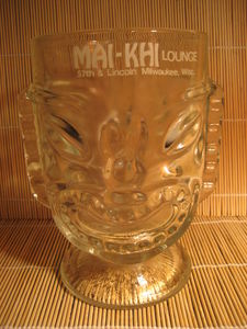 Two-sided happy/sad tiki glass from Mai-Khi Lounge in Milwaukee