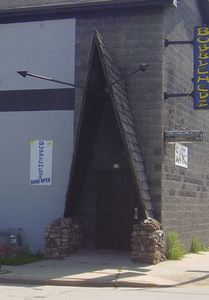 Remains of the A-frame entrance, with tiki torches, to the Mai-Khi Lounge in Milwaukee