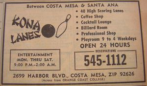 Phone book ad for Kona Lanes in Costa Mesa, from the Anaheim Public Library