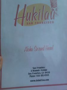 Menu at Hukilau in San Francisco
