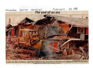 Milwaukee Journal Sentinel clipping showing the destruction of the Leilani Village in Brookfield