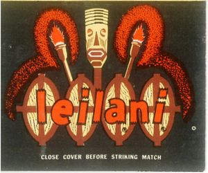The Leilani sign from a matchbook from Leilani Village in Brookfield