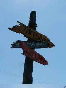 Signpost at House of Tiki in Costa Mesa