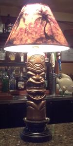 Tiki lamp at the bar at Honolulu Harry's in Chino