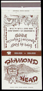Cover of a matchbook from Diamond Head in Saugus