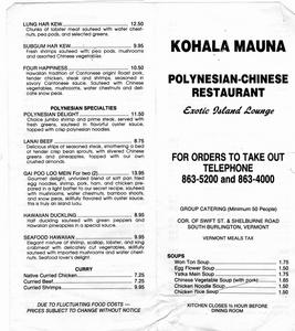 Portion of take home menu from Kohala Mauna in South Burlington
