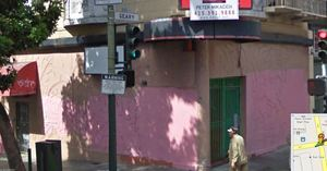 Current-day exterior, with painted-over tropical bas-relief, of the now-defunct Tahitian Hut in San Francisco