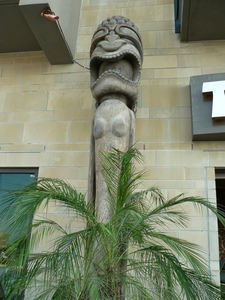 Large tiki at the entrance to Trader Vic's in Dallas