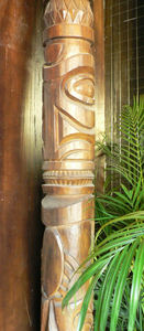 Tiki pole at the entrance to Trader Vic's in Dallas