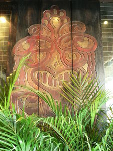 Carved panel at the entrance to Trader Vic's in Dallas