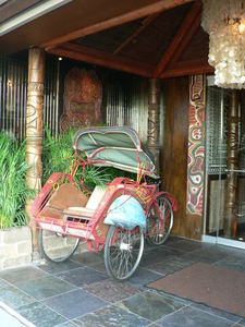 Rickshaw at the entrance to Trader Vic's in Dallas